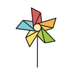 Kids toy pinwheel wind stick icon vector