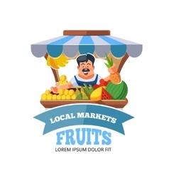 Local market farmer selling vegetables vector