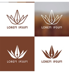 Logo template pen flower vector