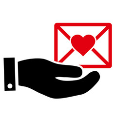 Love mail offer hand icon vector