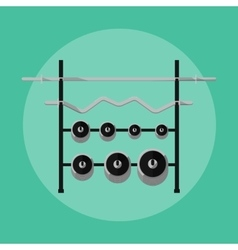 Metal barbells and weights on rack vector