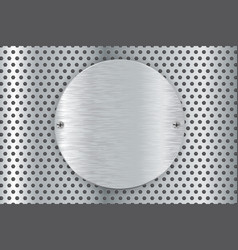 Metal perforated background with round brushed vector