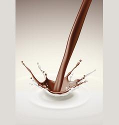 milk chocolate splash stream flow vector image