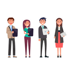 modern office people with tablets and documents vector image