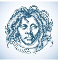 Mythological Medusa portrait with snakes in place vector