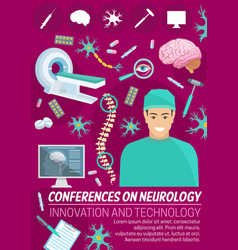 Neurology medicine conference banner with doctor vector