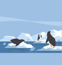 North pole arctic penguin iceberg with fish vector