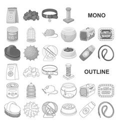 Pet shop monochrom icons in set collection for vector