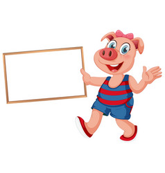 Pig isolated holding wooden sign vector