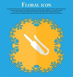 Plug mini jack Floral flat design on a blue vector