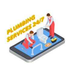 plumbing services isometric plumber online vector image