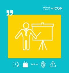 Presentation sign - line icon man standing with vector