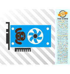 Puppycoin gpu card flat icon with bonus vector