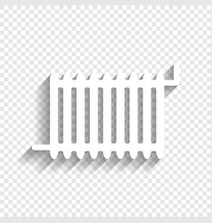 radiator sign white icon with soft shadow vector image