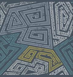 retro maze seamless pattern vector image