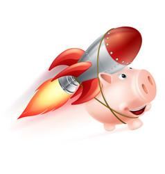 Rocket piggy bank vector