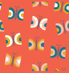 scandinavian style butterfly pattern red vector image