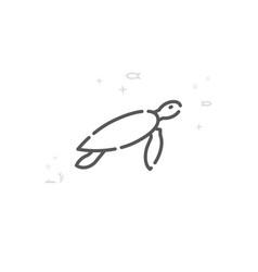 Sea turtle line icon symbol pictogram sign light vector