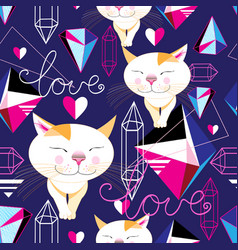 Seamless funny pattern of enamored cats vector