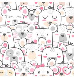 Seamless pattern - cute set bear vector