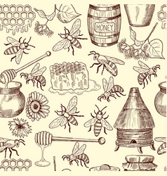 Seamless pattern with honey bees and vector
