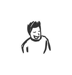 Self-confidence feeling icon sketch drawing vector