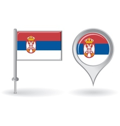 Serbian pin icon and map pointer flag vector