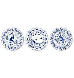Set blue porcelain plates floral pattern vector