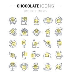 Set Flat Line Icons Chocolate vector