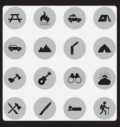 set of 16 editable trip icons includes symbols vector image