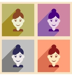 Set of flat web icons with long shadow women vector