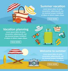 Summer rest banner horizontal set flat style vector