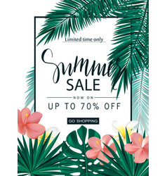 summer sale tropical banner poster with vector image