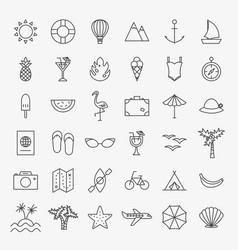 summer travel line icons set vector image