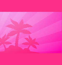 Tropical landscape palm under clean pink vector
