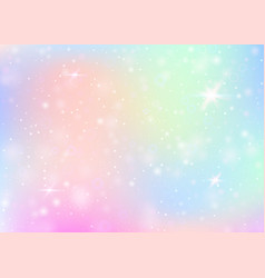 Unicorn background with rainbow mesh vector