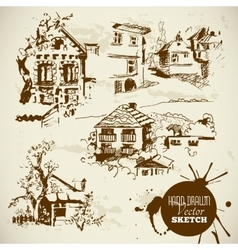 Vintage Hand Drawn Landscape Sketch Set vector