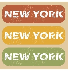 Vintage New York stamp set vector image