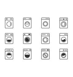 washing machine icon set laundry symbols with vector image