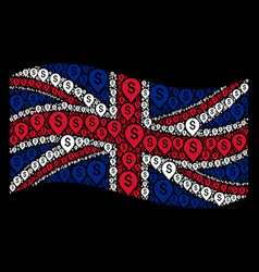Waving great britain flag mosaic of banking map vector