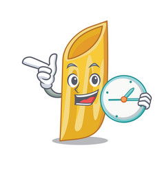With clock penne pasta character cartoon vector