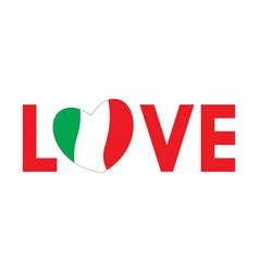 word love with italian flag vector image