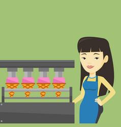 Worker of factory producing ice-cream vector