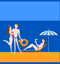young friends on sea resort vector image