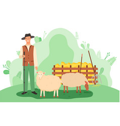 young shepherd stands with sheep in a green meadow vector image