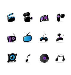 Bright media game and music icons vector image
