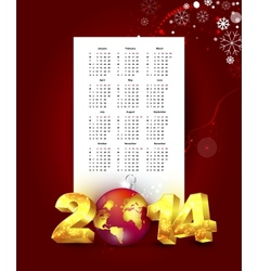 Calendar for 2014 with New Year background vector image