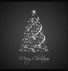 christmas tree from stars with abstract chain vector image vector image