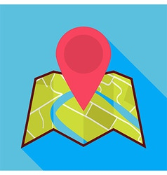 Flat Map Icon with Map Pin and Long Shadow vector image
