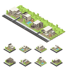 isometric suburban buildings composition vector image vector image